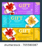 gift voucher card set template... | Shutterstock .eps vector #705580387