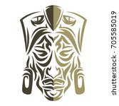 ethnic mask icon or inca flat... | Shutterstock .eps vector #705585019