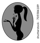 black silhouette of fine naked... | Shutterstock . vector #705586189