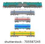 vector flat  railway locomotive ... | Shutterstock .eps vector #705587245