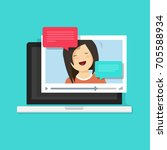 video chatting online on... | Shutterstock .eps vector #705588934