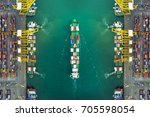 aerial view of cargo ship ... | Shutterstock . vector #705598054