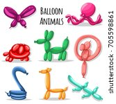 balloon animals set  dog ...   Shutterstock .eps vector #705598861