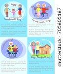 happy grandparents day set of...   Shutterstock .eps vector #705605167