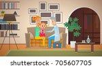a gray haired  elderly family... | Shutterstock .eps vector #705607705