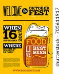 welcome to oktoberfest poster....   Shutterstock .eps vector #705611917