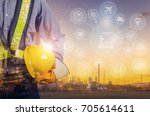 double exposure of engineer... | Shutterstock . vector #705614611