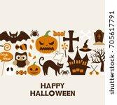 happy halloween vector... | Shutterstock .eps vector #705617791
