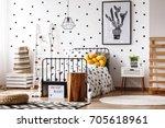 wooden stool in scandinavian... | Shutterstock . vector #705618961