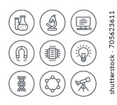 science  research line icons on ... | Shutterstock .eps vector #705623611