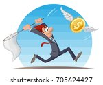 funny man in suit trying to...   Shutterstock .eps vector #705624427