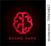 brain red chromium metallic logo