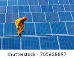 engineering man repair of solar ...   Shutterstock . vector #705628897