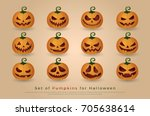 set of pumpkins for halloween.... | Shutterstock .eps vector #705638614