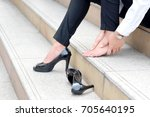 woman with leg cramps and... | Shutterstock . vector #705640195