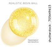 yellow epoxy ball with a golden ... | Shutterstock .eps vector #705649615