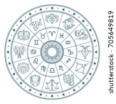 astrology horoscope circle with ... | Shutterstock .eps vector #705649819