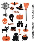 happy halloween party ... | Shutterstock .eps vector #705651835