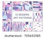 set of hand drawn artistic... | Shutterstock .eps vector #705652585