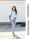 young stylish woman wearing...   Shutterstock . vector #705659851