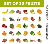 set of fruits on white... | Shutterstock . vector #705661147