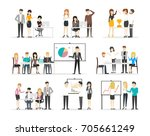 office illustration set on... | Shutterstock . vector #705661249