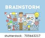 brainstorming illustration... | Shutterstock . vector #705663217