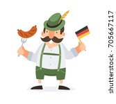 happy bavarian smiling man in... | Shutterstock .eps vector #705667117