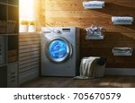 interior of a real laundry room ... | Shutterstock . vector #705670579