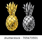 set of pineapples. silver and... | Shutterstock .eps vector #705673501