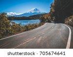 mt fuji in japan and highway... | Shutterstock . vector #705674641