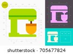 stand mixer color icon  golden... | Shutterstock .eps vector #705677824