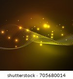 wave particles background   3d ... | Shutterstock . vector #705680014