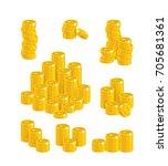 euro coin heaps. exceeding... | Shutterstock .eps vector #705681361
