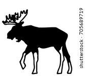 a silhouette of an elk in black ...   Shutterstock .eps vector #705689719