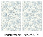 Stock vector botanical cover design with floral elements vintage card design with peony flower pattern 705690019