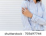 stylish woman wearing blue...   Shutterstock . vector #705697744