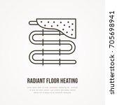 underfloor heating flat line... | Shutterstock .eps vector #705698941