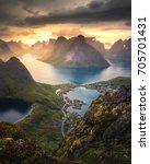 reinebringen reine norway fjord ... | Shutterstock . vector #705701431