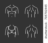 body parts chalk icons set.... | Shutterstock .eps vector #705702445