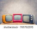 retro old tv set receivers on... | Shutterstock . vector #705702595