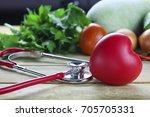 healthy hearth concept ... | Shutterstock . vector #705705331