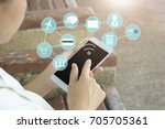 people use phone  concept as... | Shutterstock . vector #705705361