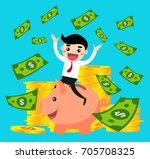 happy business people ride... | Shutterstock .eps vector #705708325