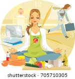 a woman tries to keep calm... | Shutterstock .eps vector #705710305