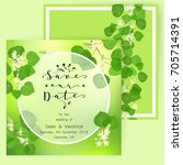 save the date card  wedding...   Shutterstock .eps vector #705714391