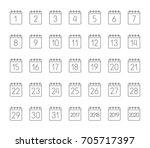 month calendar linear icons set.... | Shutterstock . vector #705717397
