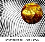 gold Earth over silver background  Earth 3d reconstruction is used from NASA site - stock photo
