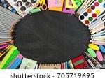 school supplies frame on a... | Shutterstock . vector #705719695