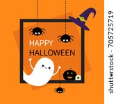 happy halloween. square frame.... | Shutterstock .eps vector #705725719